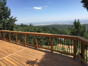 Custom Wooden Deck with Mountain Vista View